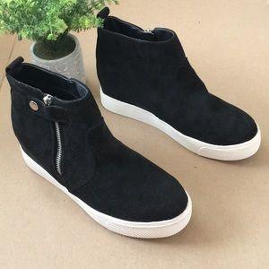 BIG BUDDHA black suede high top sneaker bootie